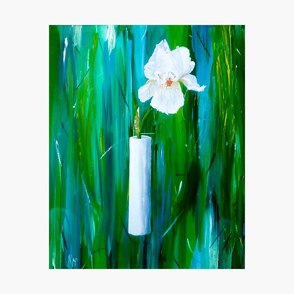 Single Iris in a Vase Photographic Print