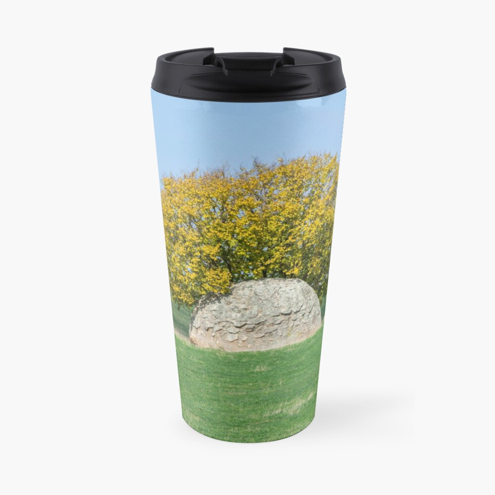 Rock and Tree in Meadow Travel Mug
