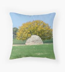 Rock and Tree in Meadow Throw Pillow