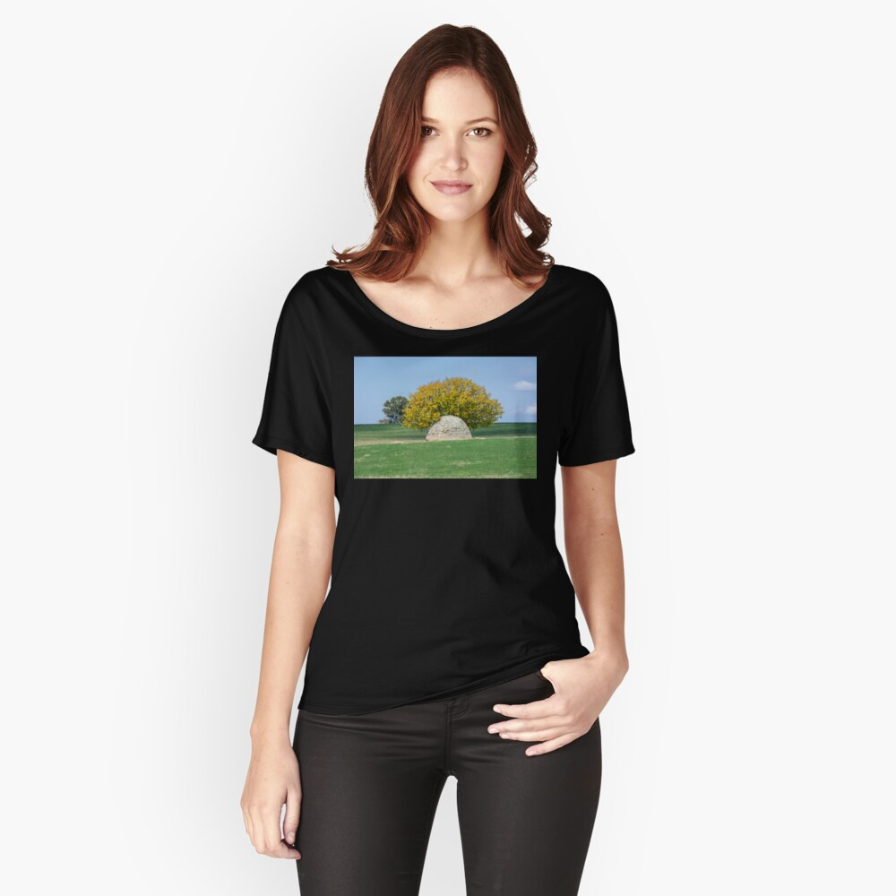 Rock and Tree in Meadow Relaxed Fit T-Shirt