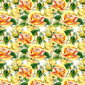 Hand painted yellow orange green watercolor roses floral  by Kicksdesign
