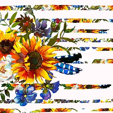 Hand painted yellow orange blue watercolor sunflower pattern by Kicksdesign