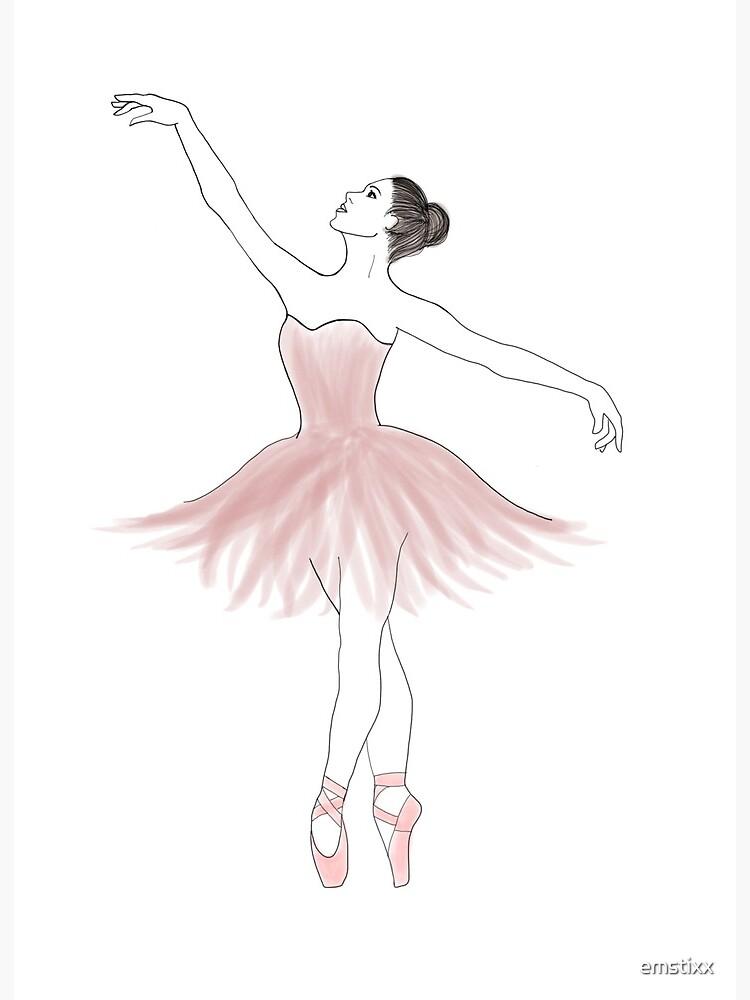 Pink Ballerina Dancing Art Board Print By Emstixx Redbubble