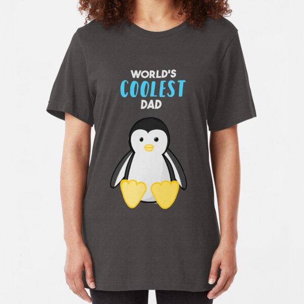 Penguin - World's Coolest Dad - Fathers Day Slim Fit T-Shirt