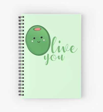 OLIVE YOU - Typography - Calligraphy - Text Spiral Notebook