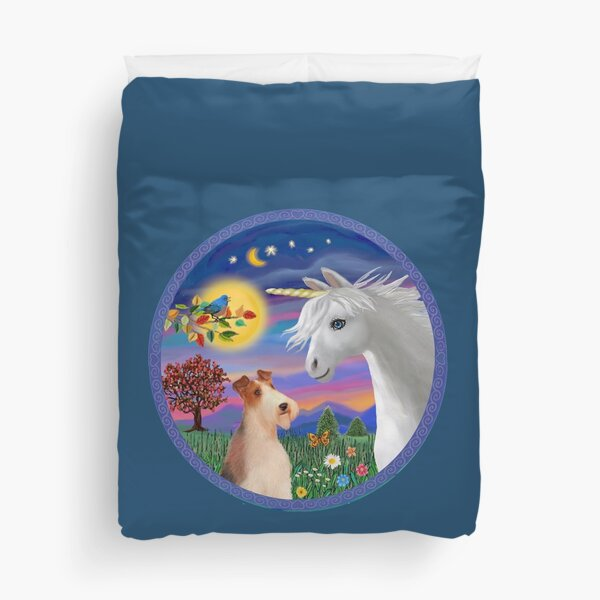 Unicorn and Wire Fox Terrier (#4) Duvet Cover