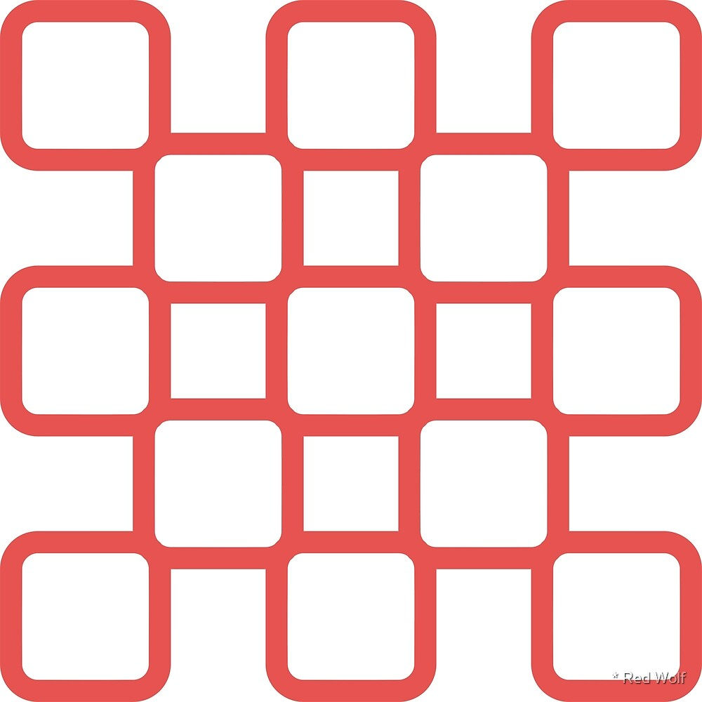 Geometric Pattern: Rounded Weave: Red/White by * Red Wolf