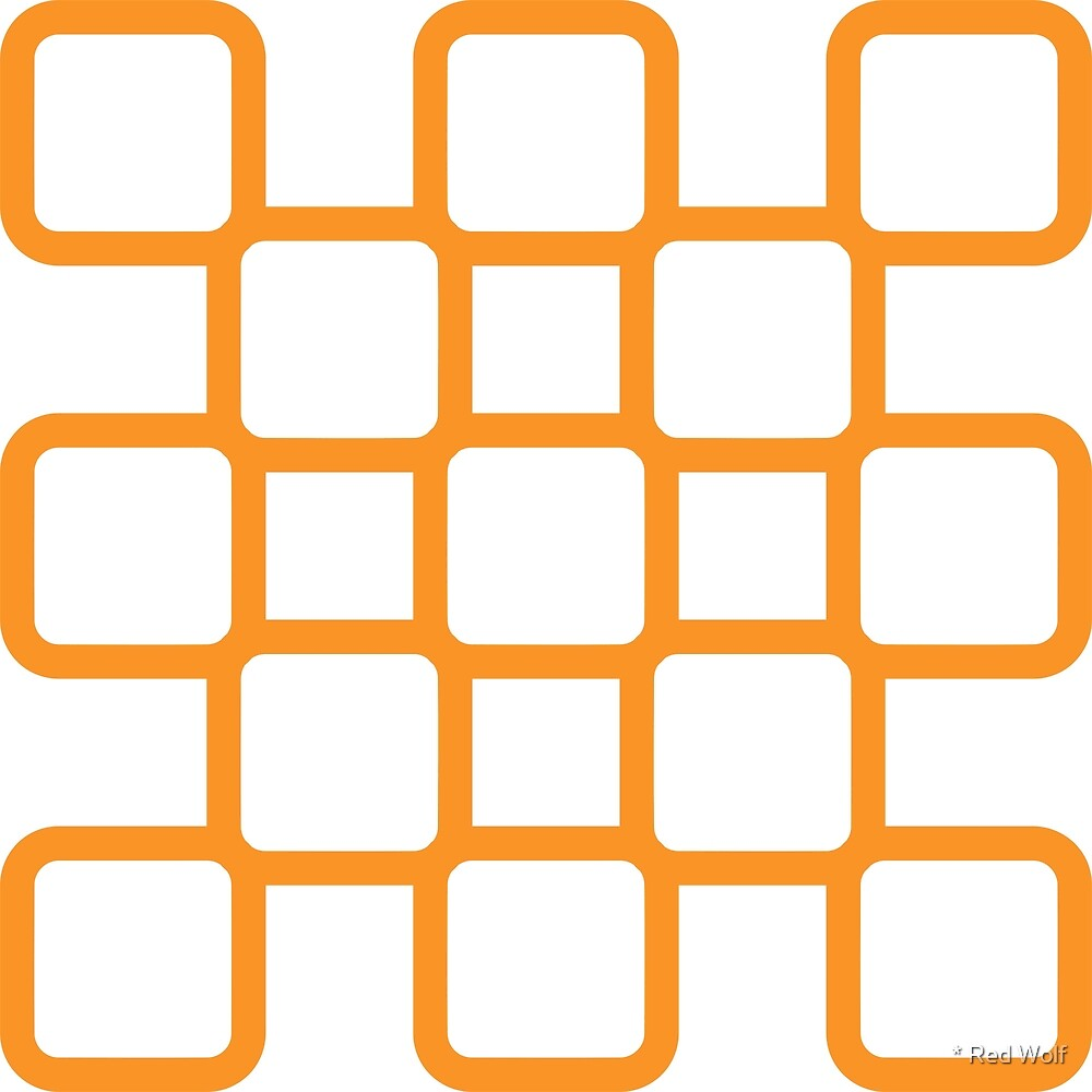 Geometric Pattern: Rounded Weave: Orange/White by * Red Wolf