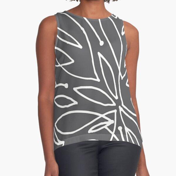 Grey Leafy Love Scribble  Sleeveless Top
