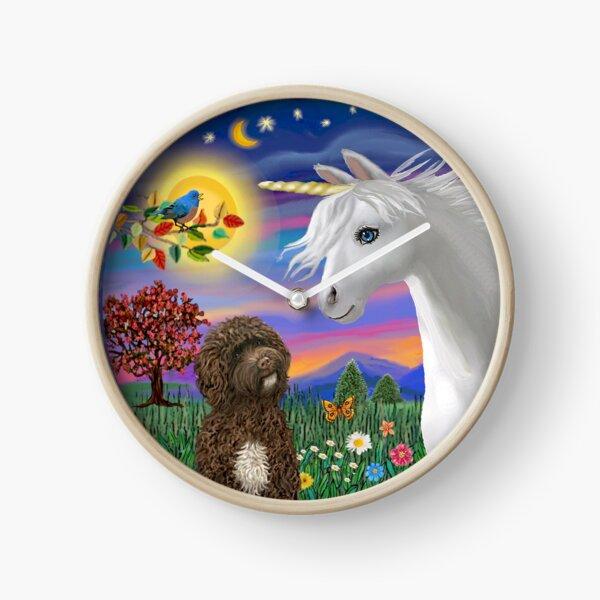 Unicorn and Portuguese Water Dog (brown) Clock