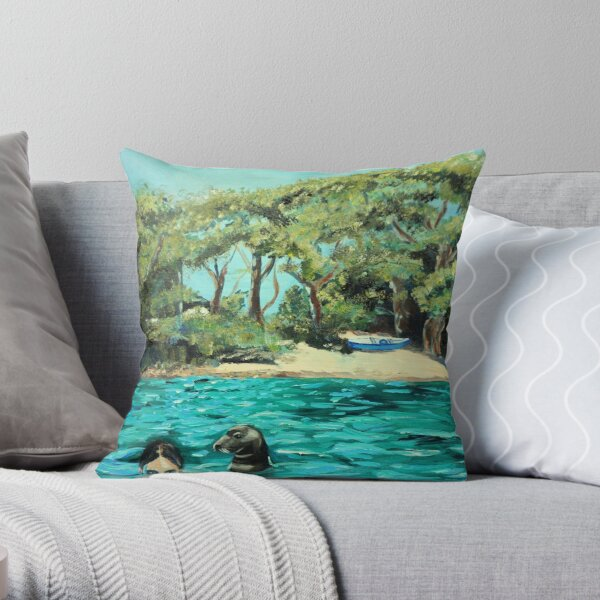 Meeting on the Helford River Throw Pillow