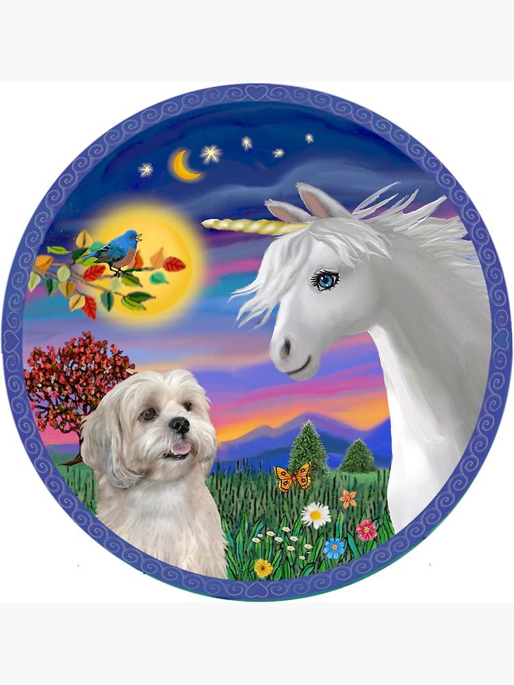 Unicorn and Lhasa Apso (white) by JeanBFitzgerald