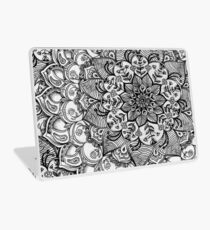 Shades of Grey - mono floral doodle Laptop Skin