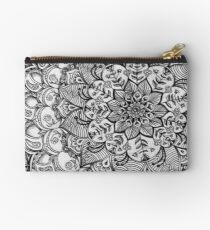 Shades of Grey - mono floral doodle Studio Pouch