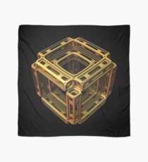 Three-dimensional fractal cube shape in gold tones Scarf