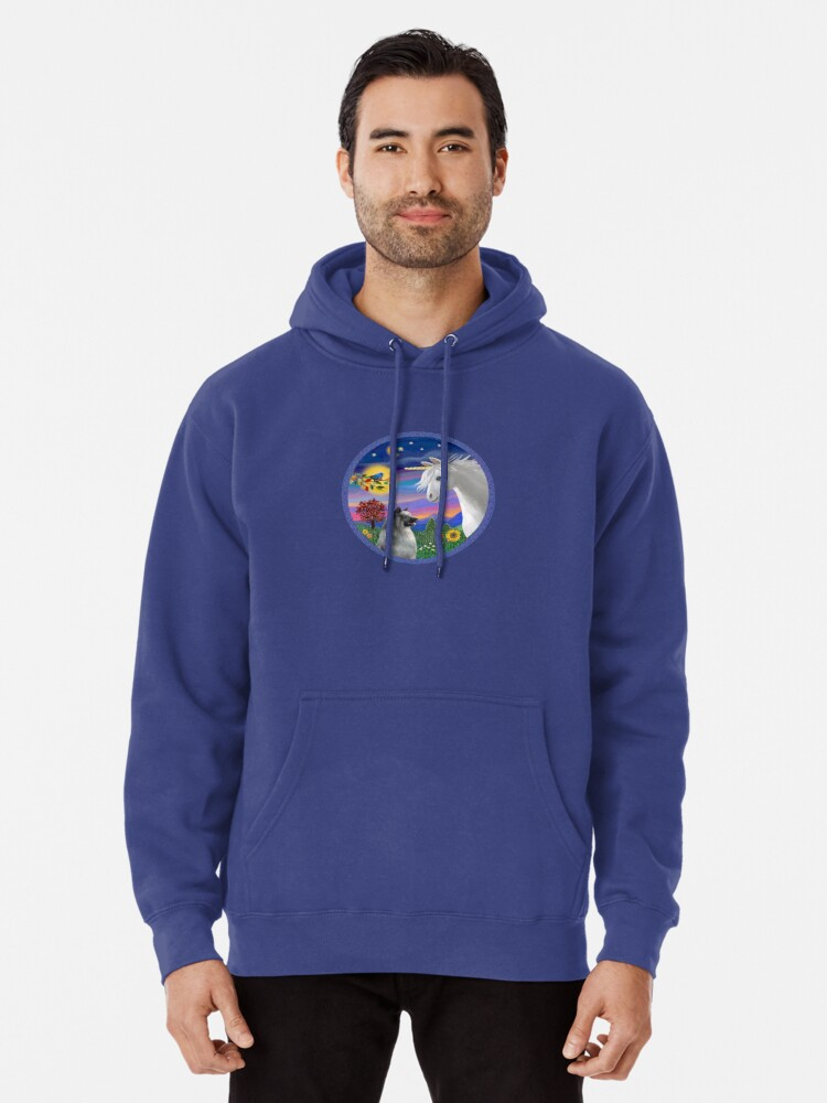 Alternate view of Unicorn and Keeshond Pullover Hoodie