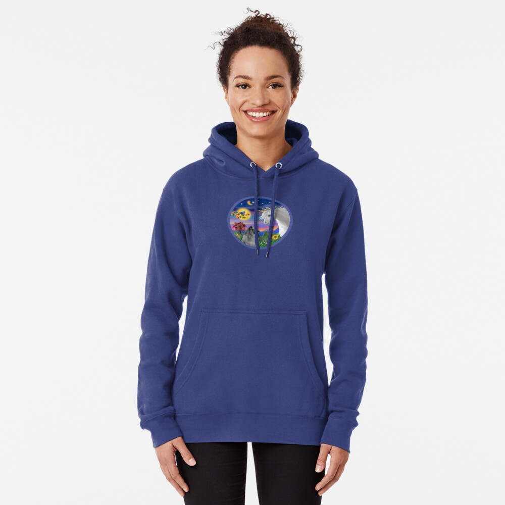 Unicorn and Keeshond Pullover Hoodie