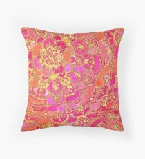 Hot Pink and Gold Baroque Floral Pattern Throw Pillow