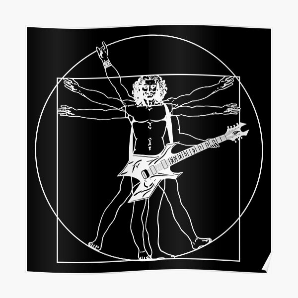 Vitruvian guitar player, Heavy Metal guitar B.C. Rich Warlock (black version available,too) Poster