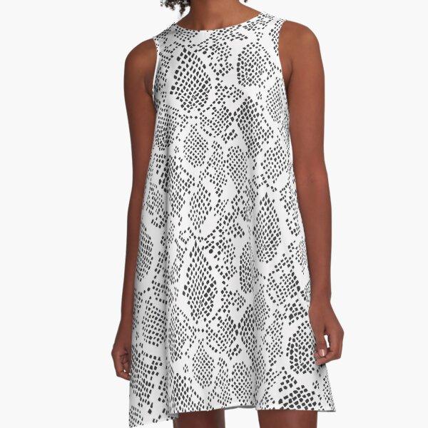 Snakeskin Style Animal Print Dark Grey A-Line Dress