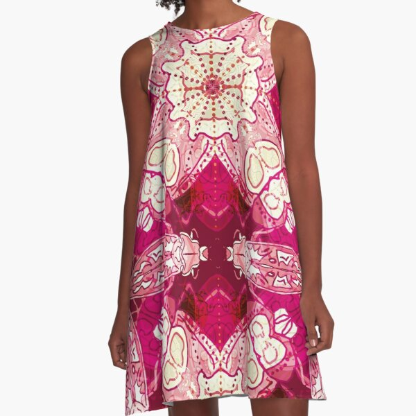 Red Abstract Insect bug design A-Line Dress