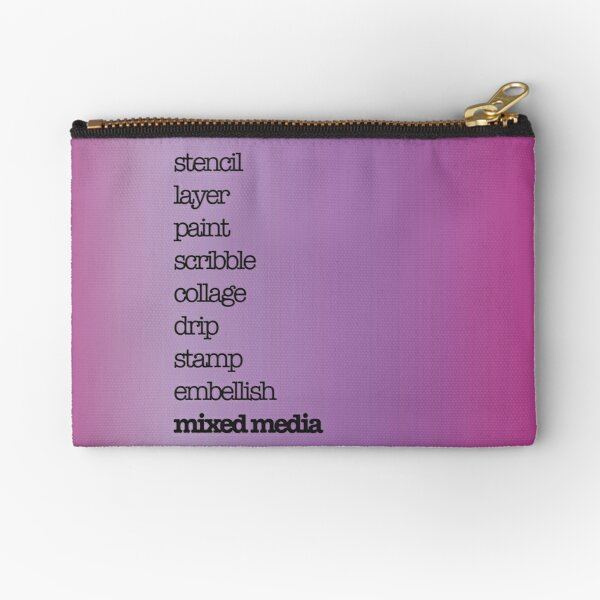 Mixed media crafter text design black on magenta Zipper Pouch