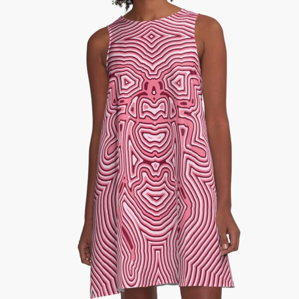 Pink abstract bug stripe A-Line Dress