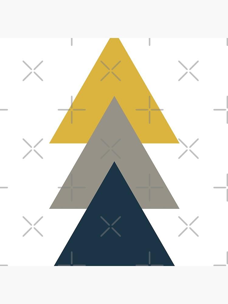 Triangle Trio. Minimalist Geometric in Light Mustard Yellow, White, Grey, and Navy Blue by kierkegaard
