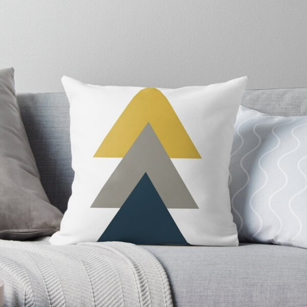 Triangle Trio. Minimalist Geometric in Light Mustard Yellow, White, Grey, and Navy Blue Throw Pillow