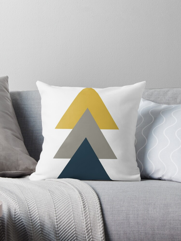 Triangle Trio Minimalist Geometric In Light Mustard Yellow White Grey And Navy Blue Throw Pillow By Kierkegaard Redbubble