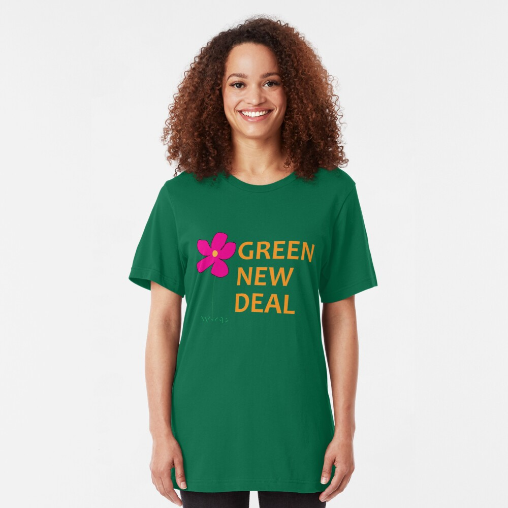 Green New Deal with Flower Slim Fit T-Shirt
