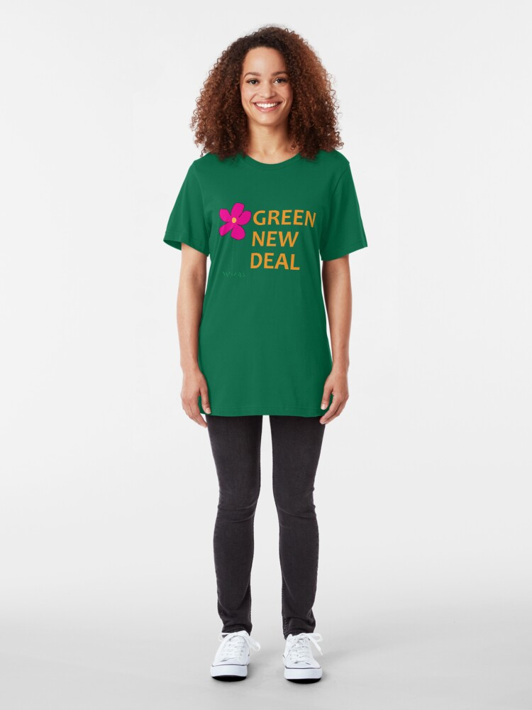 Alternate view of Green New Deal with Flower Slim Fit T-Shirt