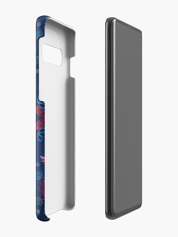 Alternate view of Cherry Red & Navy Blue Watercolor Floral Pattern Case & Skin for Samsung Galaxy