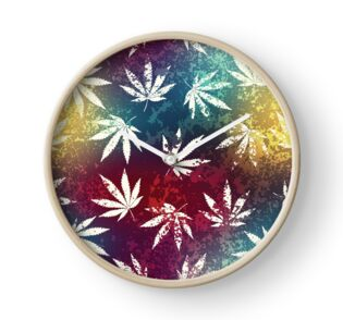 Red Gold and Blue Mosaic Cannabis Marijuana Pot Weed 420