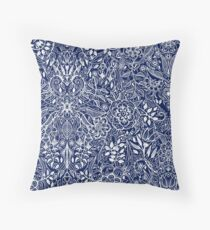 Detailed Floral Pattern in White on Navy Throw Pillow