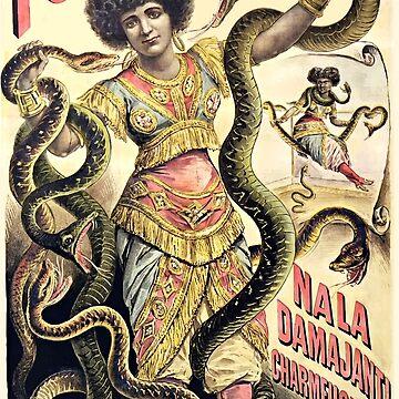 Folies Bergere, Nala Damajanti Hindu Schlangenbeschwörer Vintage Poster von monsterplanet