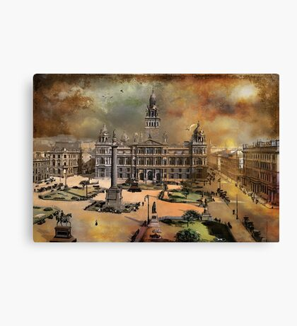 George Square -Glasgow 1900 y Canvas Print