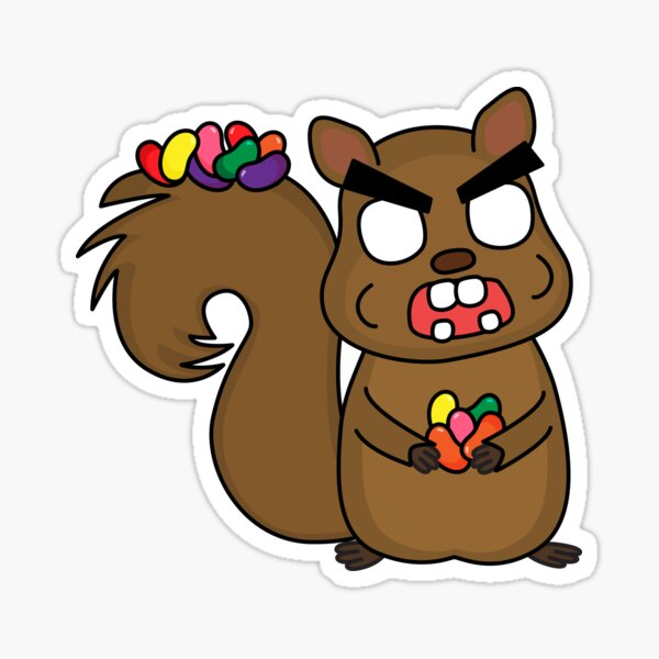 angry zombie squirrel with all the beans Sticker