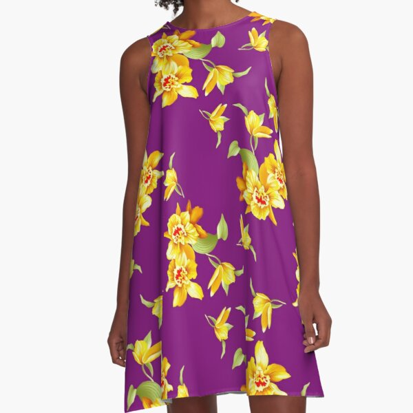 Golden Daffodils on Purple A-Line Dress
