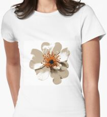 Wild Rose in Tan and Deep Red Fitted T-Shirt