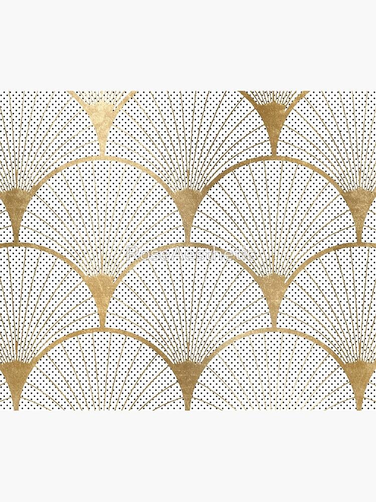 Art Deco pattern - golden polkadot fans by RoseAesthetic