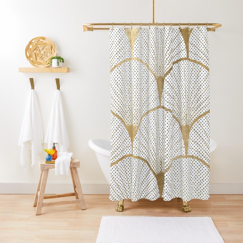 Art Deco pattern - golden polkadot fans Shower Curtain