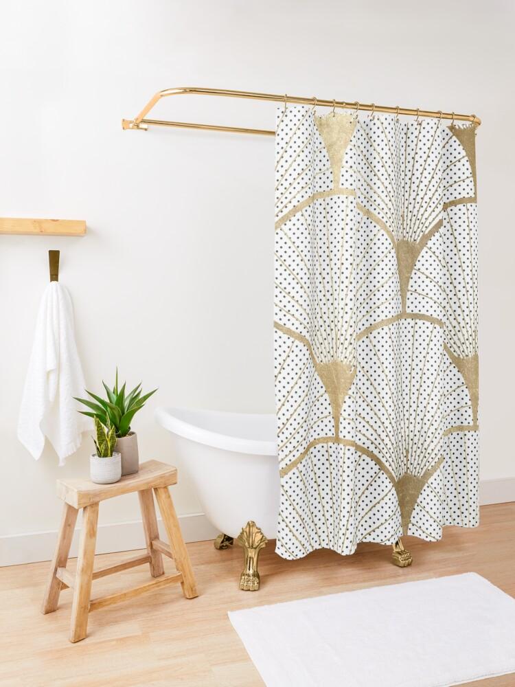 Alternate view of Art Deco pattern - golden polkadot fans Shower Curtain