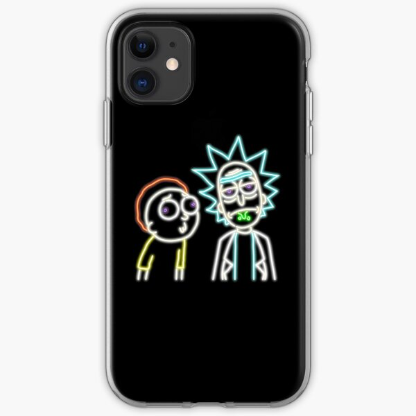 Neon Rick and Morty (Black) iPhone Soft Case