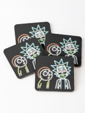 Neon Rick and Morty (Black) Coasters
