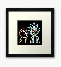 Neon Rick and Morty (Black) Framed Print