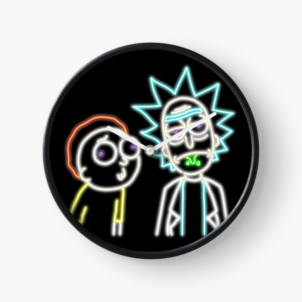 Neon Rick and Morty (Black) Clock
