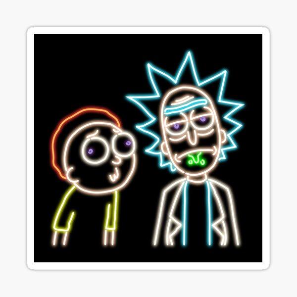 Neon Rick and Morty (Black) Sticker