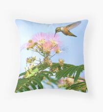 Rufous Hummingbird in Mimosa Tree with Grasshoppers Throw Pillow