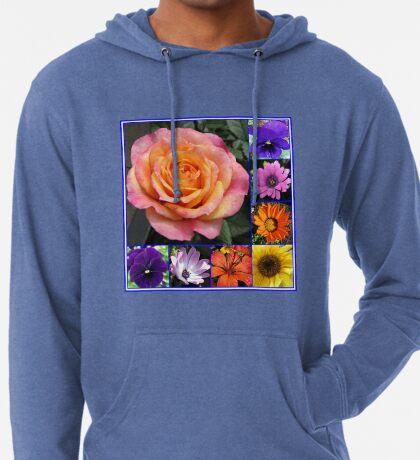 Blumen der Sommer-Collage, die leuchtende Rosen-Schönheit kennzeichnet Leichter Hoodie